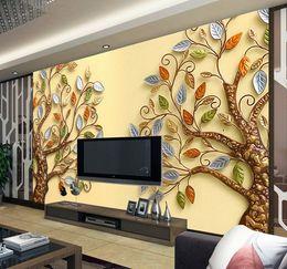 Wholesale Embossing Wallpaper - 3D stereoscopic embossing tree large mural fantasy tree custom-built living room sofa hotel TV background wall
