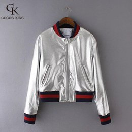 Wholesale Stylish Women S Coats - Wholesale- Stylish Metal Textured Golden Silver Bright Bomber Pilots Jacket Coat Trendy Women Contrast Color Side Long Sleeve Outerwear Top
