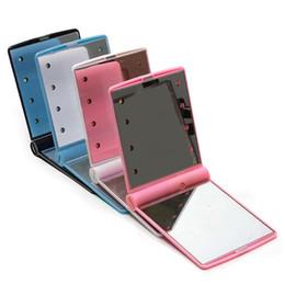 Светодиодный карманный зеркало для макияжа, сложенное с помощью света Cosmetic 2017 Компактные зеркальные фотокамеры для женщин с розовым белым розовым свободным dhl от