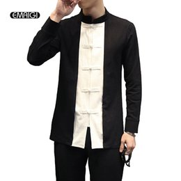 Wholesale Sleeve Fit Shirt China - Wholesale- New Spring Autumn Men Casual Shirt China Style Stand Collar Black White Splice Long Sleeve Male Shirts Men's Slim Fit Shirt