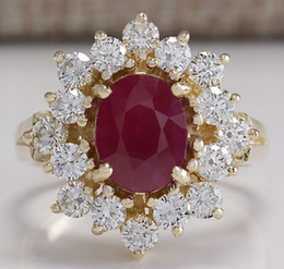 Wholesale Solid Yellow Gold Ruby Ring - 3.08CTW NATURAL RED RUBY AND DIAMOND RING 14K SOLID YELLOW GOLD