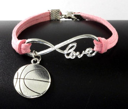Wholesale Silver Basketball Charms - 10pcs Vintage Silver Love Infinity Basketball Charm Bracelet Bangle For Women Mixed Color Velvet Rope Bracelet Jewelry Gift Accessories