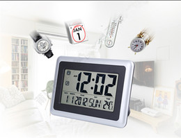 Wholesale Led Display Digital Wall Clock - Big LCD Thermometers Fashion Waterproof Shower Time Watch Digital Bathroom Kitchen Wall Clock Silver Big Indoor Temperature Display