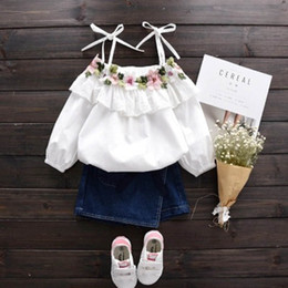 Wholesale Blouses White Girl - Summer Korean Fashion white flower Girls Tops Blouses lace cotton Children Shirts best baby Toddler sun-top Long Sleeve Shirt Clothing A277