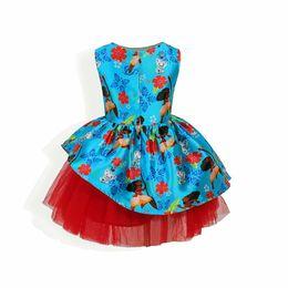 Wholesale Spandex Lycra Dresses - Princess Moana Ocean Dress Girls Tulle Ruffles Bohemia Romance Dress Children New Western Clothes