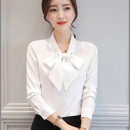 Wholesale Ladies Formal White Tops - Simple Bowknot Chiffon Shirt Blouses Women Plus Size Cardigan Casual White Blouse Tallas Grandes Ladies Tunic Tops P7C1323