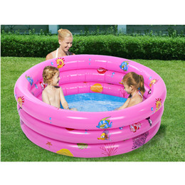 Wholesale Inflatable Paddling Pools - Wholesale-Portable Three Rings Trinuclear Children Baby Inflatable Pool Swimming Paddling Pool Disk Bath Tub with Pump Bathtub