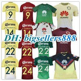 Wholesale Mexico Green Soccer Jersey - Top Thai quality 17 18 100 anniversary green America jersey soccer home yellow 2017 2018 away white Mexico club 3RD third Football Shirt