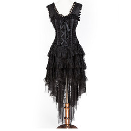 Wholesale Square Corset - Vintage New Women Fashion Black Ruffle and Ribbon Halterneck Corset with Layered Hi-lo Skirt Daincing Costume Party Dress for Ghost Bridal