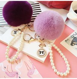 Wholesale Men Bracelet Korea - Korea Style Cute Fur Rabbit Ball Key Chain Beaded Bracelets Key Chain for Car Key Ring Bag