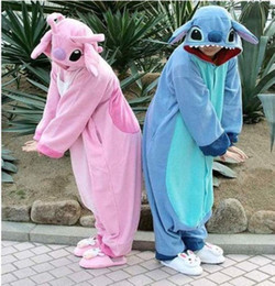 Wholesale pyjamas pajamas - Brand New Warm Unisex Adult Kigurumi Pajamas Animal Blue Stitch Pink Stitch Jumpsuit Cosplay Costume Onesie Pyjamas Sleepwear Polar Fleece