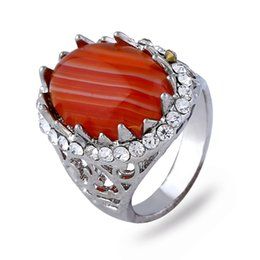 Wholesale Red Onyx Ring Gold - Onyx Agate Rings For Men Platinum Plated Men's Ring Banded Agate Natural Stone Jewelry For Women