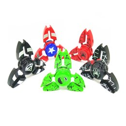 Wholesale Metal Crab Captain America Spiderman EDC Hand Spinner Fidget Toy Finger Fingertips Gyro Tri Triangle Spinners HandSpinner Spinning Top