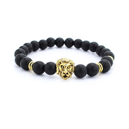Canada Nouveau 8 mm noir Pierre de lave Perles Pierre naturelle Bracelet, Hommes Bijoux Stretch Yoga tête de lion Bracelet en gros 2color or argent cheap jewelry wholesale lion head Offre