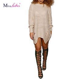 Wholesale Dress Rips - Wholesale-Tassel ripped vintage long sweater dress 2016 european fashion slim knitting female jumpers fringe women sweaters and pullovers