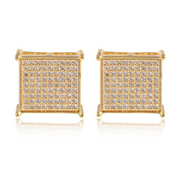 Wholesale Men Micro - 2017 new fashion Man women Stud Earrings yellow gold filled AAA+ Cubic Zircon diamond Micro Paved square Earrings wedding jewelry