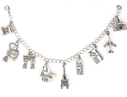 Wholesale Wholesale Paris Charms - 12pcs Paris inspired bracelet Eiffel Tower, travel charm love travel Charm silver tone Charms bracelet