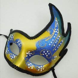 Wholesale Blue Face Paint - Peacock Painted Flamenco Masks Muffle Mosaic Halloween Performing Party Venetian Mask G566