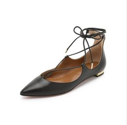 Wholesale Mature Ladies Women - Popular Office Lady Lace Up Mature Women Sandal Flat Heels Sandal Summer Pingskin Basic Sandals Women Black Color