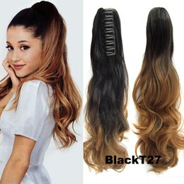 """Wholesale Braided Ponytail Hairpiece - Wholesale-Claw Clip Ponytail Hair Extensions 22"""" Claw Clip Ponytail Hairpieces Braid Beautiful Girl Synthetic Hair Ponytail Clip On Hair"""