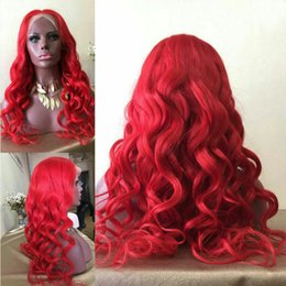 Wholesale Human Red Lace Wig - 10A Red Human Hair Wigs For Black Women Body Wave Natural Hairline Lace Front Wigs With Baby Hair Peruvian Virgin Full Lace Wig