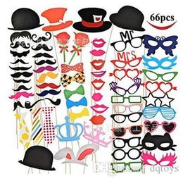 Wholesale Cardboard Photo Props - 66 pcs set of sale birthday party photo props Bachelor party wedding whimsy paper beard lips props dance prom props