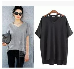 Wholesale Cheap Women Dress Blouses - Black Hollow out V collar With short sleeves T-shirt 2017 New cheap Blouse woman summer women dress long tshirt plus size good quality 5XL
