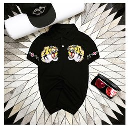 Wholesale Cheap American Shirts - 2017 summer men's short sleeve t shirt tiger head embroidery cheap mens polo t shirts