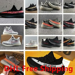 Wholesale Elastic Sneakers - 2017 New SPLY-350 V2 Kanye West 350 Boost Sneakers Running Shoes Men Women Sport Shoe Size US 5.5 to US 11 DHL Free Shipping