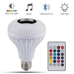 Wholesale Led Wireless Bulb - Wireless 12W E27 LED RGB Bluetooth Speaker Bulb power with Music Playing Light Lamp + remote controller