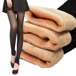 Wholesale Leggings Double Layer - Wholesale- Spring Winter Thick Velvet Warm Leggings Slim New 2016 Double layer High Quality hard to be damage by Hook Skinny Winter Solid
