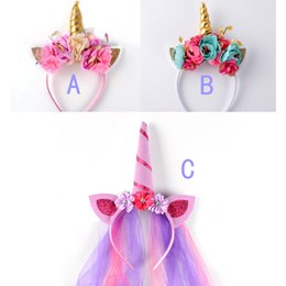 ship sticks girl Promo Codes - Best Quality INS Feather Unicorn Horn Headband Unicorn Floral Crown Hair Band Baby Girl Hair Accessory Photo Prop 3colors choose free ship