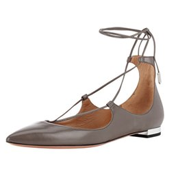 2020 scarpe da ballo scarpe fatte a mano Zandina Ladies Womens Handmade Fashion Dianvito Leather Elegant Ankle Tie Ballerine Scarpe Partito Scarpe Grigio opaco scarpe da ballo scarpe fatte a mano economici