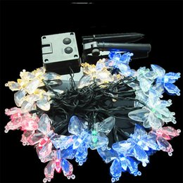 Wholesale led butterfly tree - Outdoor Lighting 4.8M 20LEDs Colorful Decoration Butterfly Luz Garland Waterproof Christmas Garden Outdoor Solar Lamp LED String