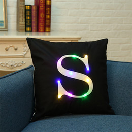 Wholesale Led Chairs Wholesale - 45*45cm Glowing Led Pillow Cover Case Led Light Letter Cushion Cover Decor For Home Sofa Chair Christmas Gift hot