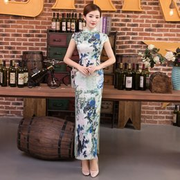 Wholesale Cheongsam Simple - JY08 Longue Cheongsam soft Flower Blanc Porcelaine Moderne Qipao Sexy Robe Traditionnelle Chinoise Robe Robe De Festa Qi Pao