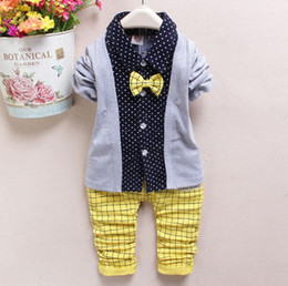 Wholesale Wholesale Fake Clothing - New Kids Clothes Spring kids boys gentleman tie top+pants set 2 pieces,Fake 3 pieces long sleeve cotton clothes suit clothing