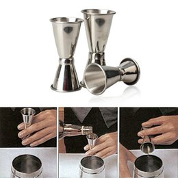 Wholesale Wholesale Cocktail Mixers - Stainless Steel Cocktail Drink Mixer Measuring Cup Double-ended Jigger Measurer Set Bar Tools Wine Pourers Free Shipping