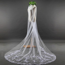 Wholesale Ivory 1t Cathedral Wedding Veils - Bridal Veils New 2017 Real Images MOOZ BRIDAL Accessories Lace Edge Appliques 3M Length 1.8Meters Widht Elegant 1T Wedding Veil