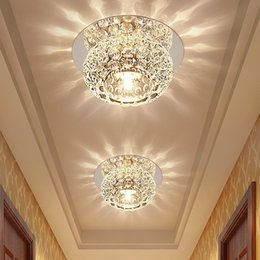 Wholesale Balcony Ceiling Lights - Cool Warm White Colorful 3W Hall Porch Modern Crystal Foyer lights Corridor Porch lamp balcony lamps LED Ceiling Lighting Background Lamp