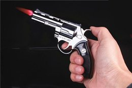 Wholesale Metal Guns - Large Metal Model Gun Revolver Lighter Prop Metal Lighter Windproof 1: 1 Metal Revolver Type Gun Lighter.