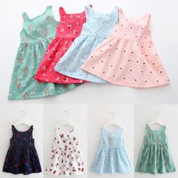 Wholesale Sweet Lolita Knee Dress - Girls Dresses Summer Princess Backless Bow Suspender Skirt Baby Clothes Fashion Floral Print Kids Clothing Children European Style Sweet