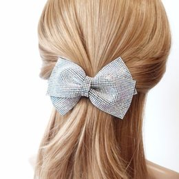 "Wholesale French Bows - 4.72""X2.75"" hair bow Bling Czech Rhinestone Layer Bow French Hair Barrette Women girls Spring clip Hair Accessory 8pcs"