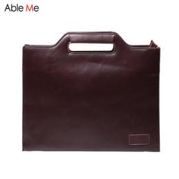 Wholesale Document Handbag - Wholesale- AbleMe Business Men Handbags Messenge Bags Vintage Portable Document File Laptop Bags Male Shoulder Tote Bag with Shoulder Strap