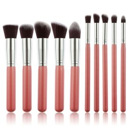 Wholesale Flat Kabuki - Hot Sale 10 pcs Professional makeup brushes set foundation blending Flat Kabuki kit pinceis maquiagem free DHL