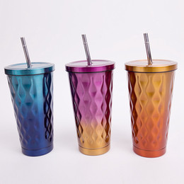 Wholesale Cold Coffees - 500ML Gradient Color Stainless Steel Cold Cup Coffee Drink Tea Mug Travel Insulation Straw Cups With Lid 3 Color 30pcs OOA3007