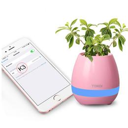 Wholesale Wholesale Mini Plants - Bluetooth Music Flowerpot Plant Piano Wireless Music Playing K3 Smart Touch Wireless Flowerpot(whitout Plants) Free Shipment