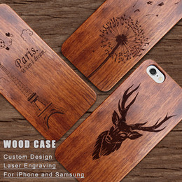Wholesale Engrave Design - For iPhone7 Wood Bamboo Engraving Case For iphone 6s 6 7 Plus Samsung S8 Wooden Cover Dandelion deer Case Custom Design With logo