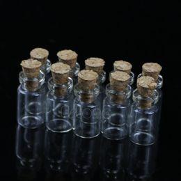 Venta al por mayor- S-home Nuevo 10pcs 0.5ml 18x10mm Mini frasco de botella de vidrio con tapón de corcho Colgante de almacenamiento MAR23 desde fabricantes
