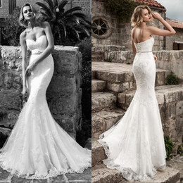 Wholesale Sexy Crystal Wedding Mermaid Satin - Sexy Lace Mermaid Wedding Dresses 2016 Strapless Applique Beaded Crystal Belt Sexy Corset Wedding Bridal Gowns Modest Bride Dresses